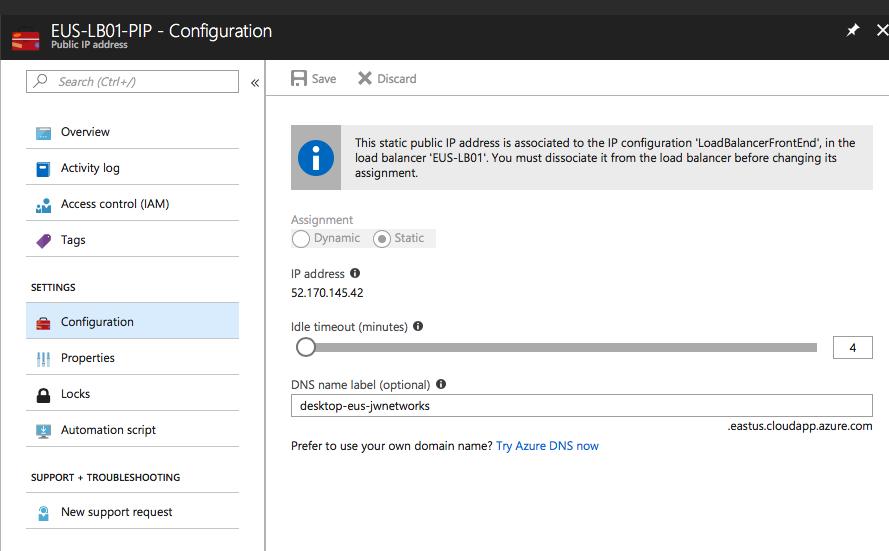 Azure Public IP configuration